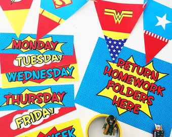 Super Hero Themed Teacher's Decorations Kit // Labels + Bunting // Downloadable + Printable