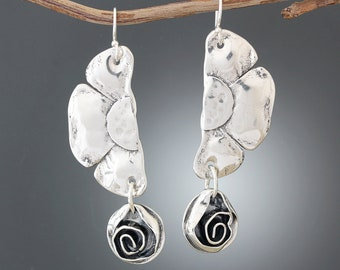 5b61a5fbc Sterling Silver Floral Statement Earrings - Rose Earrings - Flower Earrings  - Big Boho Earrings - 925 Long Earrings - Bold Silver Earrings
