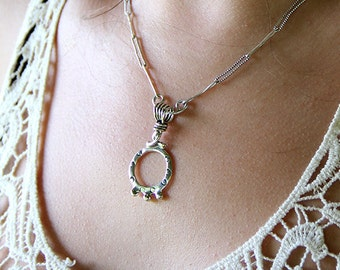 Sterling Silver Hoop Pendant - Removable Pendant - Hand Stamped Hoop - Pendant Necklace - Silver Ball - Silver Drop - Charm - Sherry Tinsman