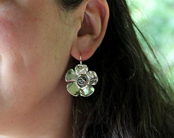 Sterling Silver Rosewood Flower Earrings - Dogwood Jewelry - Statement Earrings - Large Earrings - Rose - Floral - Dramatic - Sherry Tinsman