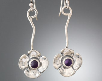 a908dbfc3 Sterling Silver and Amethyst Flower Earrings -Long Earrings Floral Earrings  - Vine Amethyst Earrings Boho Earrings - Organic Vine Earrings