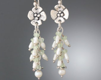 890fa62bd Sterling Silver Dogwood Flower with Prehnite and Pearl Cluster Earrings -  Pearl Earrings - Prehnite Earrings - Flower Earring - Long Earring