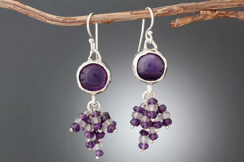 Sterling Silver Amethyst Earrings with Stone Cluster Boho Purple Earring Amethyst Statement Earrings Big Earring Long Stone Earrings