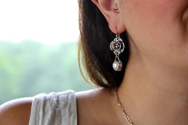 Natural White Pearl Earrings Boho Pearl Gift for Her Sterling Silver and Pearl Dogwood Flower Earrings Elegant Floral Bridal Earrings