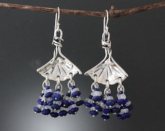 Sterling Silver Ginkgo Earrings with Lapis Lazuli & Rainbow Moonstone  - Lapis Earrings - Moonstone Earrings - Leaf Earrings - Blue Earrings