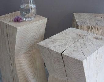 Wooj - Unseasoned Solid Ash Side Table / Stool