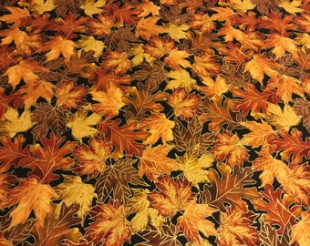 Timeless Treasure Harvest Autumn Fall leaves, Print fabric  by the half yard