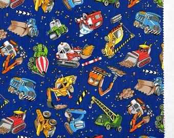 Construction Trucks Vehicles  Cotton Fabric by the half yard