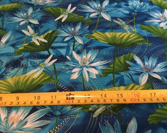 Timeless Treasure Dragonfly, Pond Life fabric  by the half yard