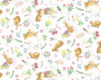 Rabbit Easter Cotton Fabric by the half yard