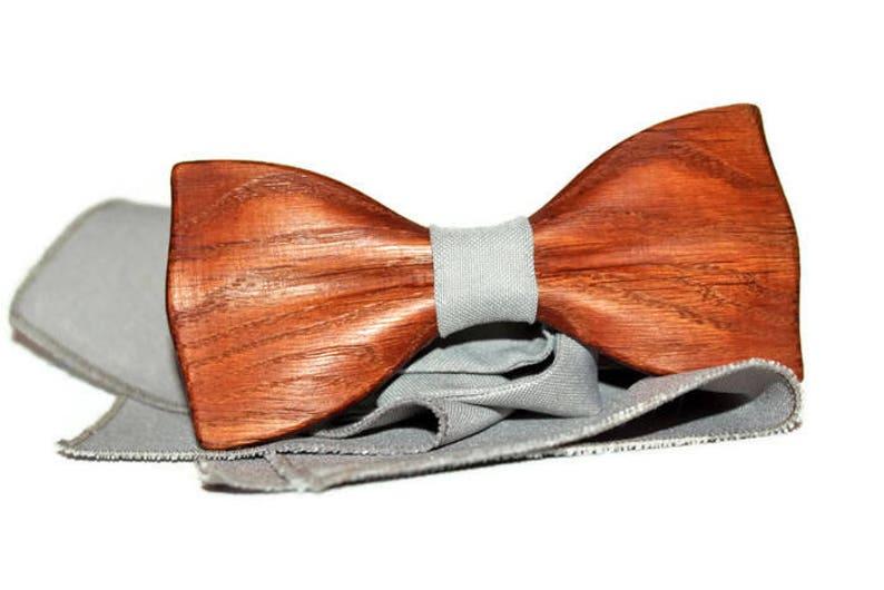 Mens Wooden Bow Tie Dark Grey Bow Tie Wedding Bow Tie