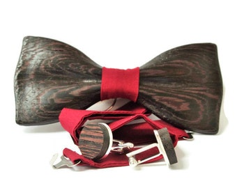 Wedding wooden bow tie with pocket square + Wooden Cufflinks. Black wood bow tie and cufflinks. Best idea for gift.