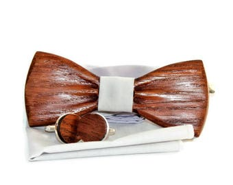 Mens wooden bow tie with pocket square + cufflinks. Handmade wooden bow tie made in limited editions.