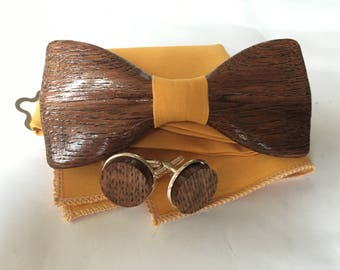 Mens wooden bow tie with pocket square and wooden cufflinks with yellow fabric.