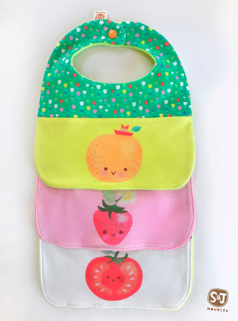 veggie theme teether bib Organic cotton tomato bib cute baby bib kawaii baby vegetable bib anthropomorphic fruit fruity