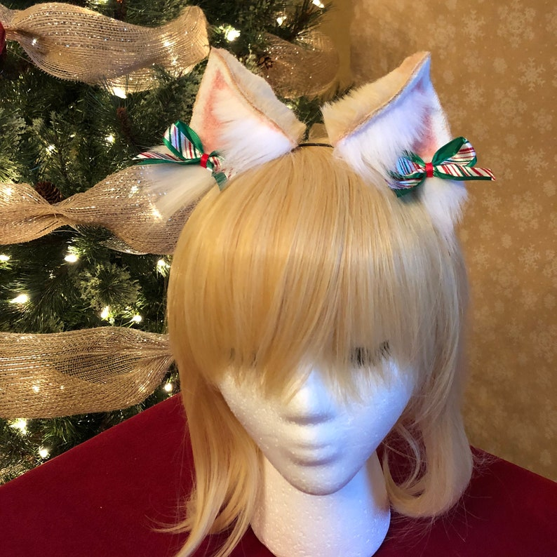 Winter Collection Blond Kitten Ears peppermint bows Style #2