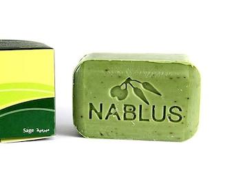 Natural Sage Soap Bar ,Nablus Olive Oil Soap (100 gm/3.5 oz) Skincare soaps ,Natural soap ,ancient olive oil soap ,Handmade, Holy land