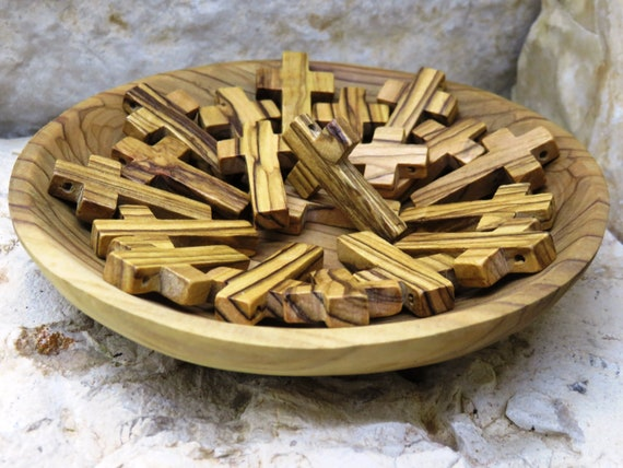 20 Olive Wood Small Crosses Wood Crosses Small Cross Pendant Olivewood Cross For Salemade In Holy Land