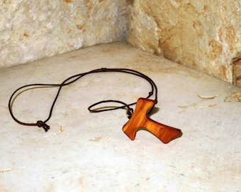Tau necklace made of olive wood, brown lace ,Holy Land olive wood Tau cross pendant