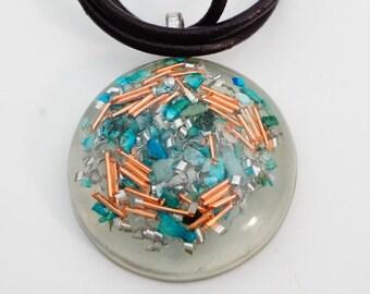 Turquoise & Copper Scramble Orgone Pendant