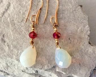 Moonstone Crystal Earrings Gold tone