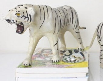 Vintage leather tiger sculptures hand painted set of 2 figurines black and white centerpiece statement decor
