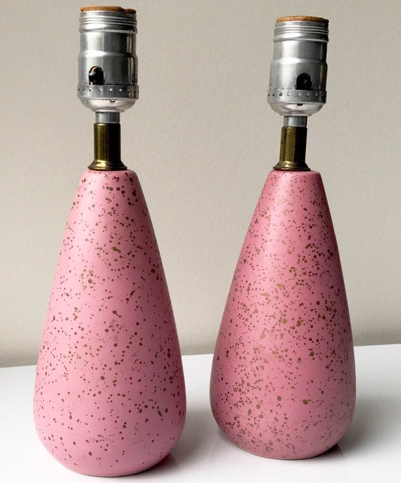 Vintage MCM Table Lamps Pink Gold Paint Splatter Ceramic   Etsy