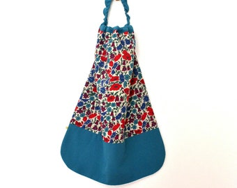 Lined canteen elasticated towel Terry bamboo Liberty Poppy Daisy peacock blue