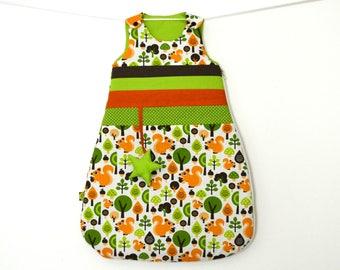 Sleeping bag or sleeping bag squirrels and Star Green 0-6 months