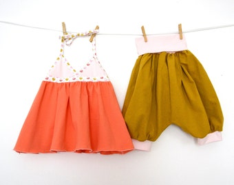 "Baby set, set kids tunic ""as the large"" salmon orange jersey + mustard short harem pants (from 12-18 months to 4/5 years)"