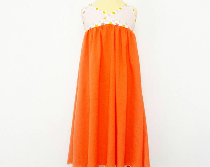 "Featured listing image: Dress child ""as the large"" salmon orange Jersey (2/3 and 6/8 years)"
