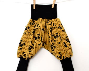 Harem pants racoon baby / child small pandas yellow (18/24 months to 3/4 years)