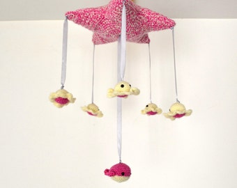 Pink star, blaeine and small Octopus baby mobile