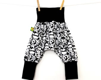 Harem pants racoon baby / child small pandas (6-12 months and 12-18 months)
