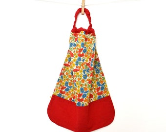Lined canteen elasticated towel Terry Liberty Poppy Daisy red-orange