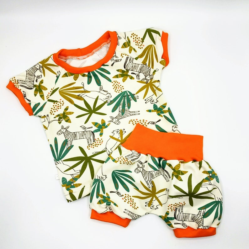 Baby and child shorts in red Panda pattern jersey