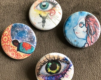 "1.25"" Watercolor Artwork Buttons"