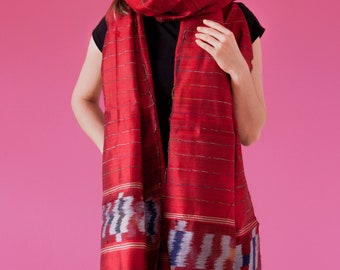 NEW Indian Silk Stole Red Silk Stole Red Fabric Scarf Dupatta Scarf Opera Scarf Wedding Silk Stole Bridal Shawl Evening Wrap Gift for her