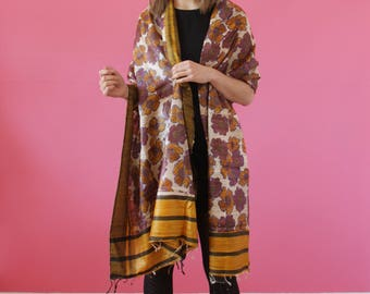 NEW Yellow brown scarf Silk stole Indian Dupatta Traditional scarf handloom Women stole Wedding accessories Ethnic scarf Bridesmaid stoles