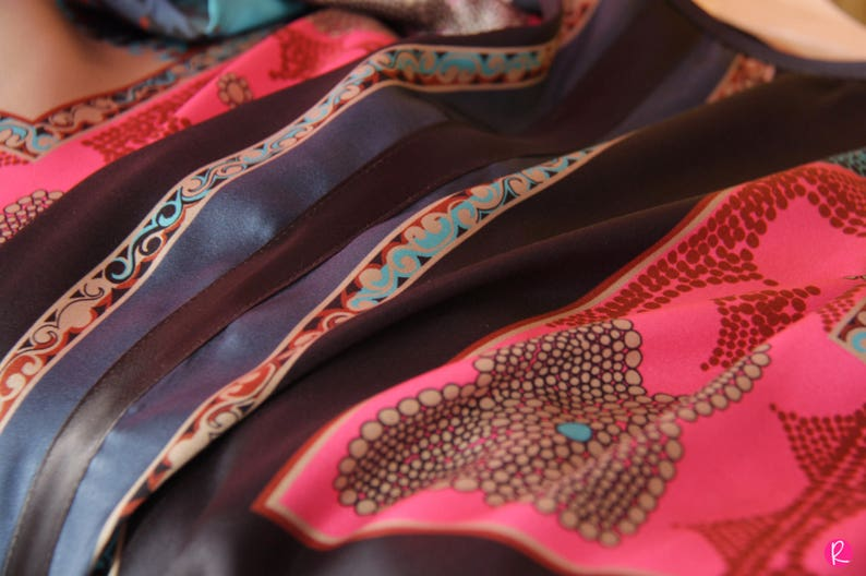 Silk Top  Black Blue Pink Shirt  Italian Silk Croptop  Woman Top  Blue Silk Blouse  Geometric Print Blouse  Christmas  Festive