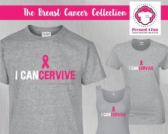 Breast Cancer Shirts: I Cancervive Design • Breast Cancer Awareness • Pink Ribbon • Breast Cancer Fighter