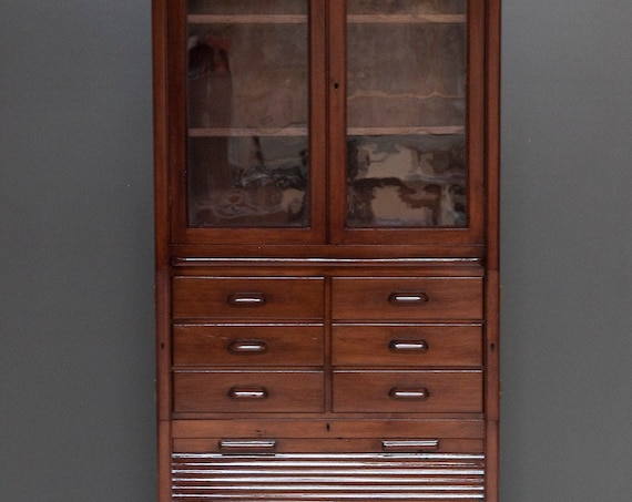 Haberdashery Cupboard, Italian, early 20th Century, Tambour, Display Cabinet, Desk, Wavy Glass, Circa 1930s. MAKE AN OFFER. Guide price only