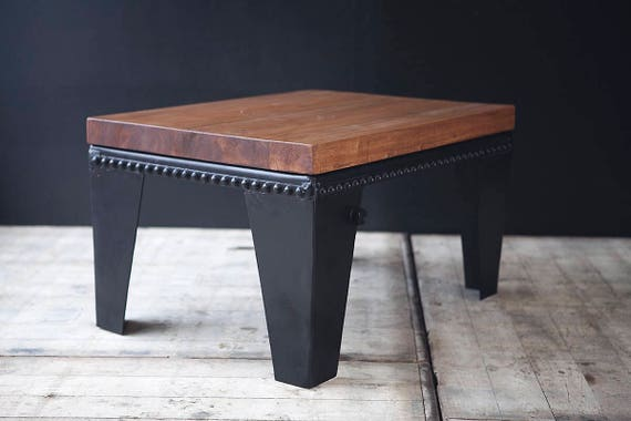 For customisation - Rectangular water tank coffee table with wood top and rivet detail