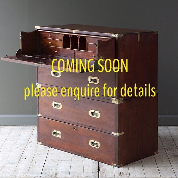 Victorian mahogany military campaign secretaire chest.