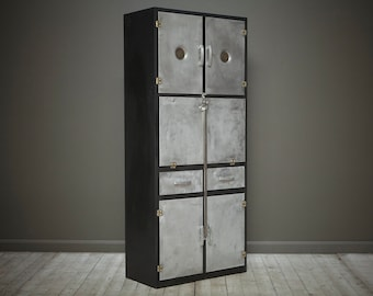 A vintage industrial pantry cabinet