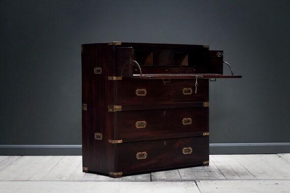 Victorian mahogany secretaire campaign chest