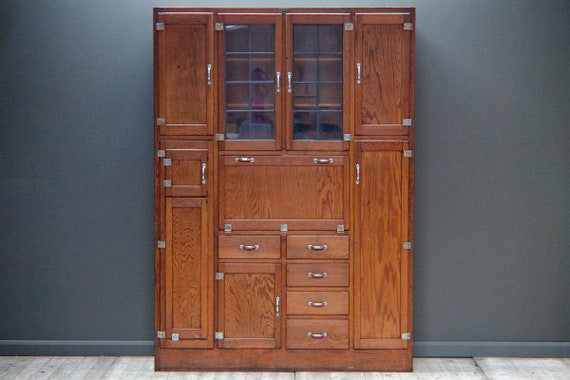 Large Solid Oak Haberdashery Cabinet by Ebdons of Croydon