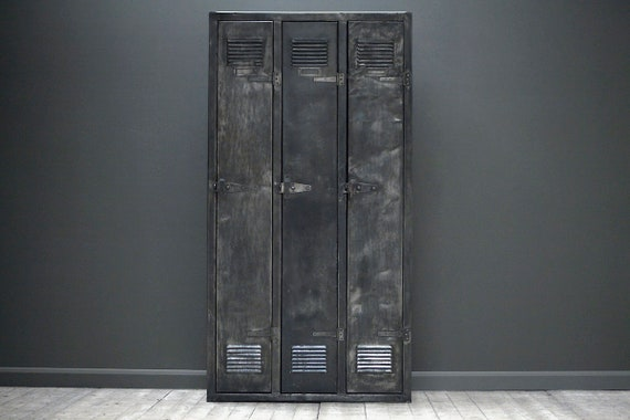 A customisable vintage, industrial, french three door locker.