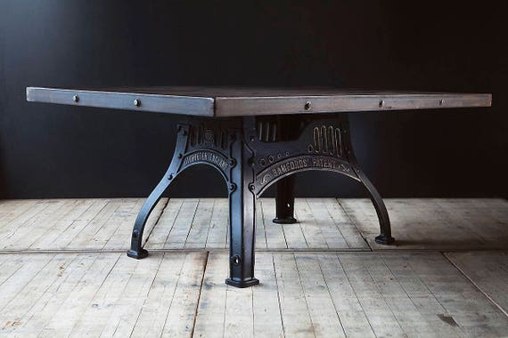 Custom made industrial dining or conference table on machinery base or legs - guide  price only
