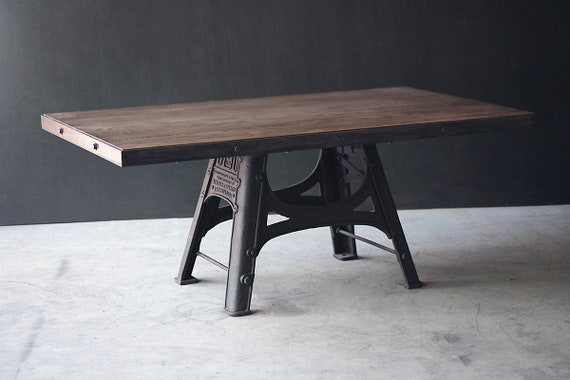 "Barford and Perkins Industrial dining table - ""Improved Corn and Oat Mill"" cast iron base"